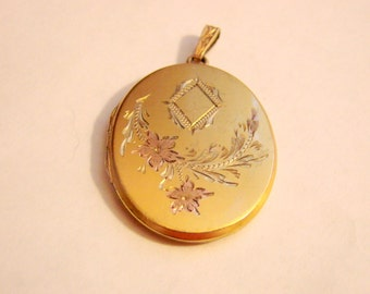 Antique Art Deco Locket Pendant / Floral Engraving / Rose Gold Plate / Vintage Jewelry / Jewellery