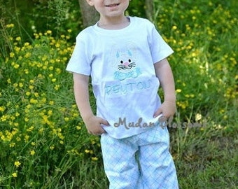 Easter Bunny applique shirt, boy easter bunny shirt, boy easter shirt, eatser baby shirt, boy easter outfit, blue bunny shirt 6m-8