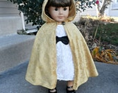 "NEW Gold Fancy Princess Queen Once Upon a Time Inspired Cloak Cape for American Girl 18"" Doll Velvet- Belle Aurora Elf Hobbit Ready To Go"