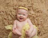 Newborn Photo Prop - Newborn Headband: Newborn Tieback, Newborn Flower Crown, Newborn Halo, Organic Photography Props, Yellow, Cream, Lace