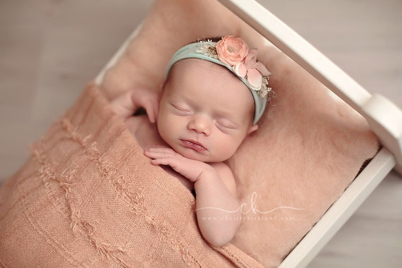Choose 4 Newborn Headbands - Newborn Tieback, Stretch Jersey Headbands, Newborn Flower Crown, Newborn Halo, Organic Photography Props, Set