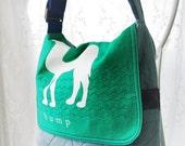 Messenger Bag, Medium Purse, Hump Day Bag, UPCYCLED Tee Shirt Bag, UPCYCLED, Recycled, Repurposed, Denim Bag, Denim MEssenger, Bag Again
