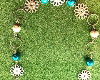 Necklace Turquoise Glass Pearl and White Pearl Flower Circle app 18 inches by JulieDeeleyJewellery on Etsy
