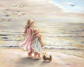 "beach  painting, Girls decor, sisters, kids art, sea, pastel,  ""The Ocean's Lullaby"" Laurie Shanholtzer Canvas or paper print"