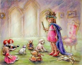 "Royal Princess, nursery childhood pretend illustration Canvas or Cotton art paper print,""Our Princess Holding Court"" Laurie Shanholtzer"