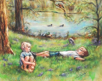 "Children's Art, ""Summer Delight"" brothers friends nature painting kids decor paper or Canvas art Print, Laurie Shanholtzer artist"