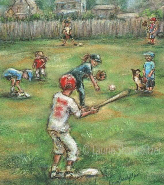 "Baseball, sports art, Kids, children, Playing, Canvas or art paper print, ""Back Lot Baseball"" , Laurie Shanholtzer,"