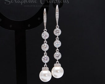Bridal Pearl Earrings Wedding Jewelry Long Drop Pearl Earrings Long Dangle Cubic Zirconia Swarovski Bridesmaid Gift Classic Vintage K157