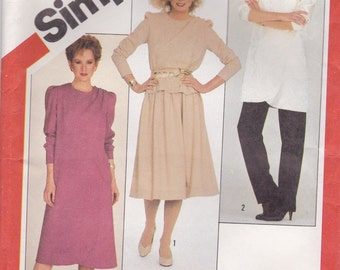 80s Asymmetrical Dress Pattern Simplicity 5643 Size 12 Uncut
