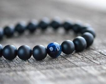 8mm Blue Tiger Eye Bracelet Matte Onyx Bracelet Mens Bracelet Black Bead Bracelet Gemstone Bracelet Mens Womens Yoga Bracelet Gifts