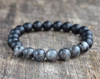 8mm Black Labradorite Bracelet, Matte Onyx Bracelet, Black Bead Bracelet, Mens Bracelet, Womens Gemstone Bracelet, Yoga Bracelet, Gifts