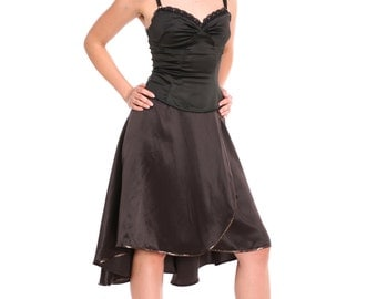Tango Skirt in Chocolate Brown, Custom Size Tango Clothes, Tango Clothing in Satin, Skirt for Tango with Sequin Finish