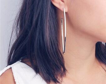 Arc earrings - Long Oval ring earrings - minimal earrings - sleek earrings