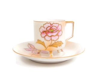 Vintage Pink Floral Teacup and Saucer Raised Gold Outline Demitasse Footed Tea Cup Embossed Gold Pastels