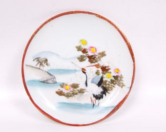 Vintage Oriental Saucer Hand Painted Cranes Asian Birds Sarus Cranes Floral Design Gold Scroll