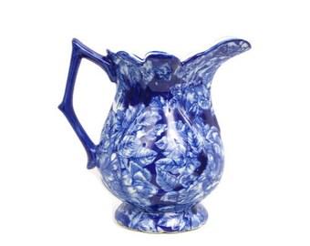 Vintage Victoria Ware Ironstone Pitcher Cobalt Blue Floral Motif Victoria transfer design Flow Blue Chintz Chinoiserie Pottery Vase