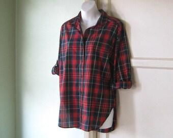 Large Red Plaid Women's Cotton Blend Shirt~Red/Green Tartan Plaid Long Sleeve Blouse; Free Shipping/U.S.