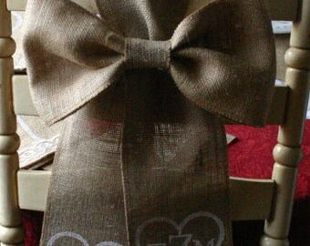 Burlap and lace Bride and Groom Burlap chair bows, Monogramed