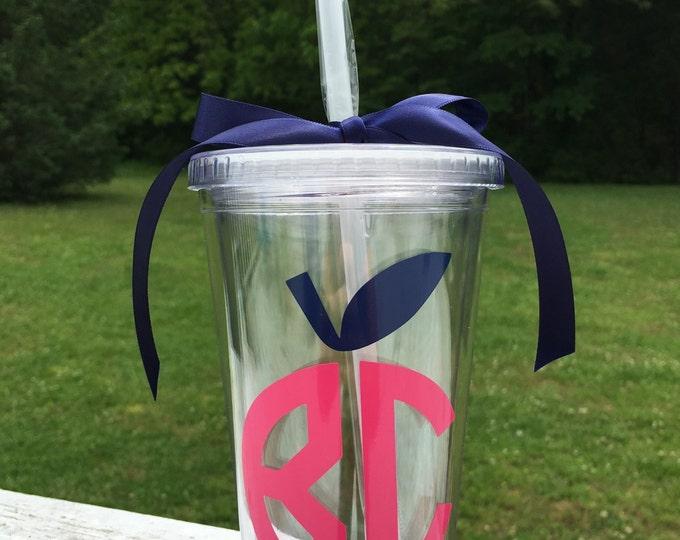 Apple Monogram Cup Teacher Tumbler Cup Teacher Gift Teacher Monogram Cup with Straw and Lid Acrylic Tumbler for Teacher Cute Apple Cup