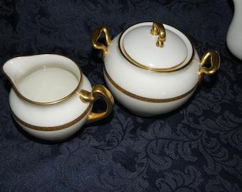 "SOLD! Antique Lenox ""Eternal"" China, Foot Rim Creamer & Lidded Sugar Bowl, Green Hallmark, Gold and Cream, 1906-1930"