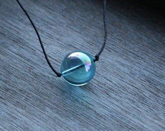 Aqua Aura 18 mm Bead Adjustable Necklace with Cord V10