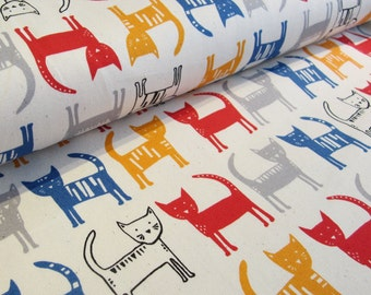 SALE | Kawaii Japanese fabric in oxford cotton by Hokkoh - kawaii cat - 1/2 YD