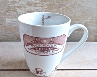 Antique Poison Label Mug, Strychnine Poison, 14 oz Apothecary Labels, Poison, Skull and Cross Bones, Dark Macabre Humor, Ready to Ship