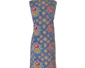 60s Sleeveless Cotton Floral Shift Dress - med/lg