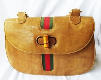 Vintage MEYERS Striped Leather Purse with Bamboo Handle Arm Bag