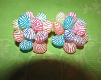 Vintage Gold Tone Pink Yellow Blue Lavender Peach Plastic Shell Clip On Earrings