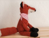 fox knitted toy, handknitted, wool, woodland animal, kids, cute