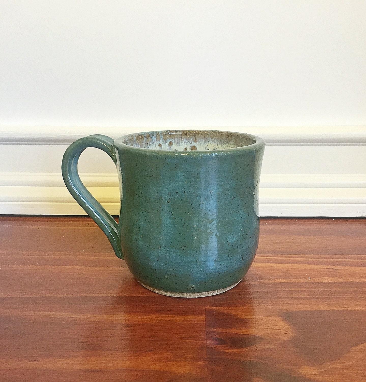 Ceramic Coffee Mug Handmade Pottery Coffee Mug Green Ready