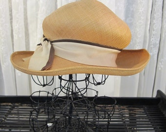 Vintage 40's ladies Jacoll straw dress hat