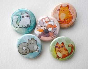 cute cat, kawaii cat pinback button pack: