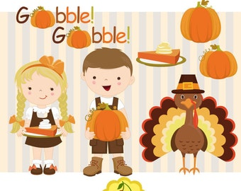 Happy Thanksgiving kids ,Thanksgiving Happy kids digital clipart set -Personal and Commercial Use-paper crafts,card making,scrapbooking