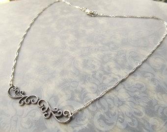 Art Nouveau Necklace Silver Bar Necklace Sterling Bar Necklace Sterling Silver Pendant Art Deco Necklace Fantasy Jewelry- Curvaceous