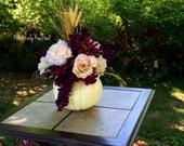 Large Romantic Elegant White Cream & Purple Plum Eggplant  Pumpkin Silk Flower Table Arrangement Centerpiece Summer Autumn Fall Wedding