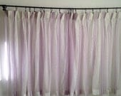 Vintage White Curtains, White and Purple Mesh Curtains, Vintage Sheer Curtains, Pleated Curtains, Short Curtains, Wide Curtains