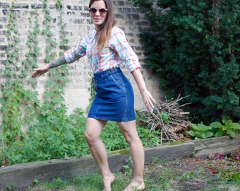 Vintage Denim Skirt - 80s Blue Jean High-Waisted Summer Mini - SM