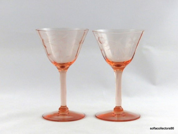 Port Wine Glasses / Sherry Glasses Depression Pink Pillar