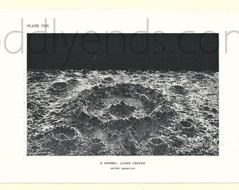 1900's Lunar Crater, Original Vintage Space Astronomy Print