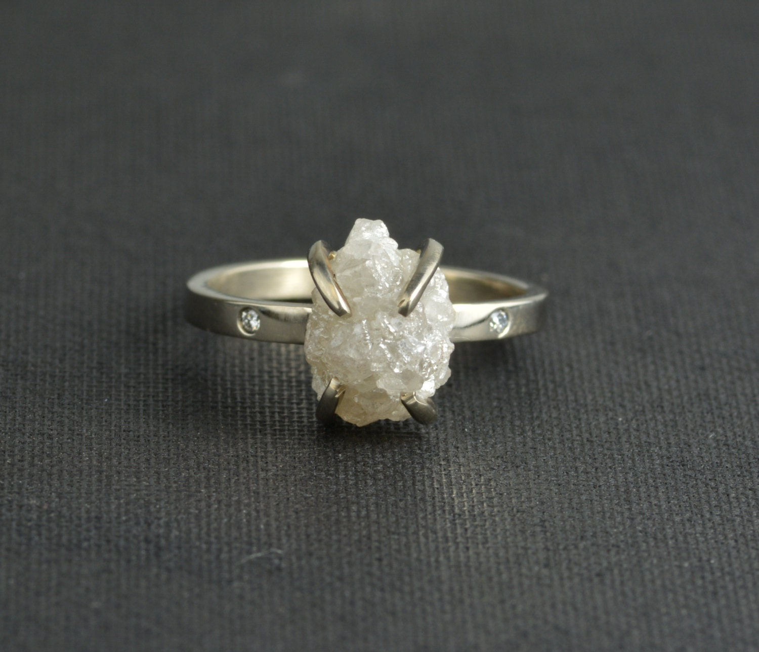 SALE Large 4 Carat Rough Diamond Ring By PointNoPointStudio