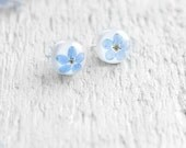 Forget-me-not resin stud earrings - 925 sterling silver posts - Blue flowers - special nature gift