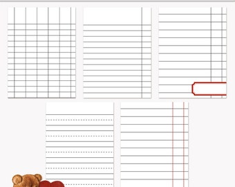 Printable Journaling Cards Ledger Set 2 Gray for Scrapbook and Project Life INSTANT DOWNLOAD