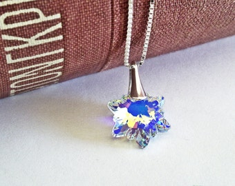 Edelweiss Crystal Necklace With Swarovski Crystal Pendant 925 Sterling Silver Box Necklace Chain Swarovski Jewelry Gift For Her