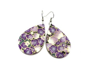 Japanese Tear Drop Earrings, Cherry Blossom Earrings, Aizome, Chiyogami Paper, Wood, Purple Dangles, Laser cut, Resin coated, Pattern varies