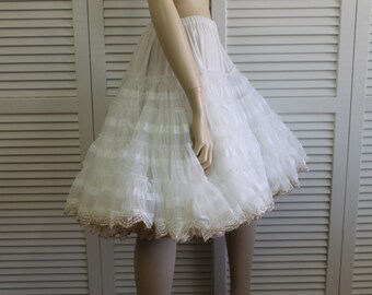 Vintage Kroenings Fashion Magic Crinoline, White/Gold, VERY Full, Petticoat, Can Can