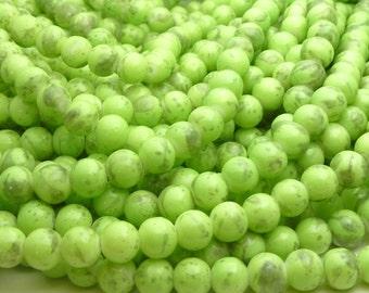 Light Green and Dark Gray Round Glass Beads - 8mm Bohemian Beads - 25pcs - BN27