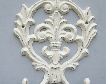 Large Fleur de Lis Ornate Double Wall Hook Cast Iron Creamy White Distressed Romantic Shabby Chic French Cottage Wall Decor PICK YOUR COLOR