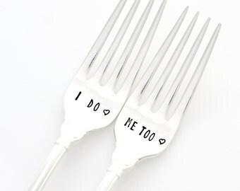 Wedding Forks, I Do Me Too silverware. Vintage hand stamped flatware by Milk & Honey